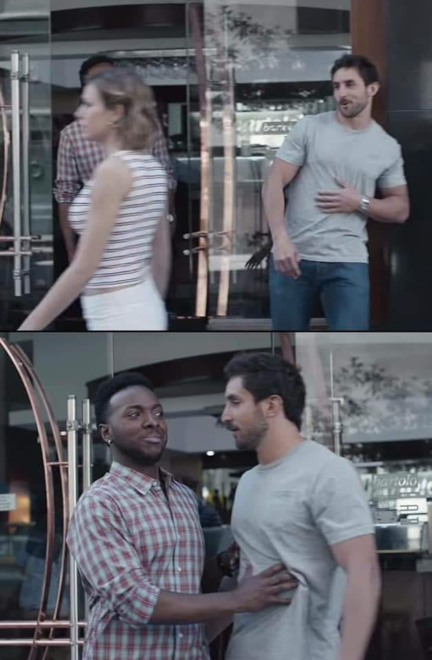 Black Guy Stopping White Guy Meme Template And Creator