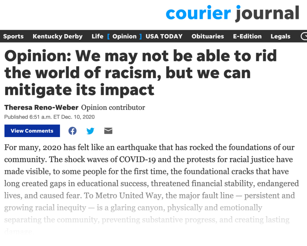 Courier-Journal Op-Ed by MUW President & CEO, Theresa Reno-Weber