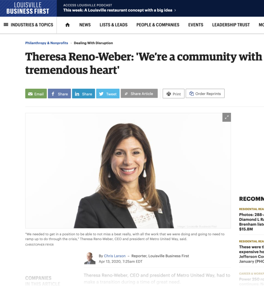 Louisville Business First Op-Ed by MUW President & CEO, Theresa Reno-Weber