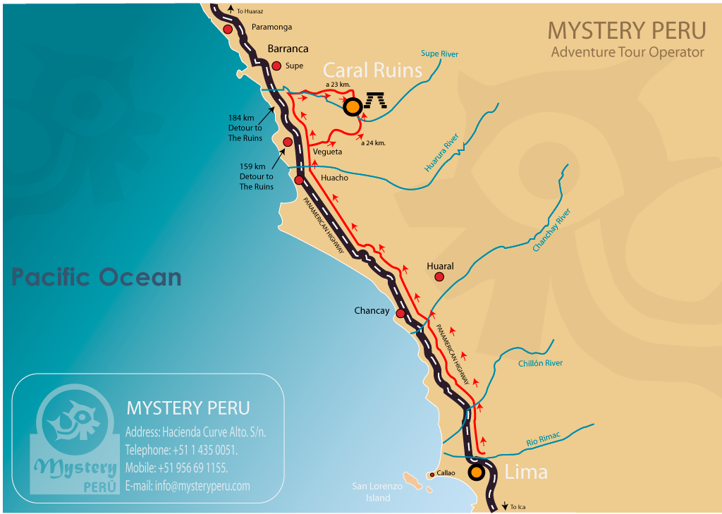 Map of the Tour to Caral.