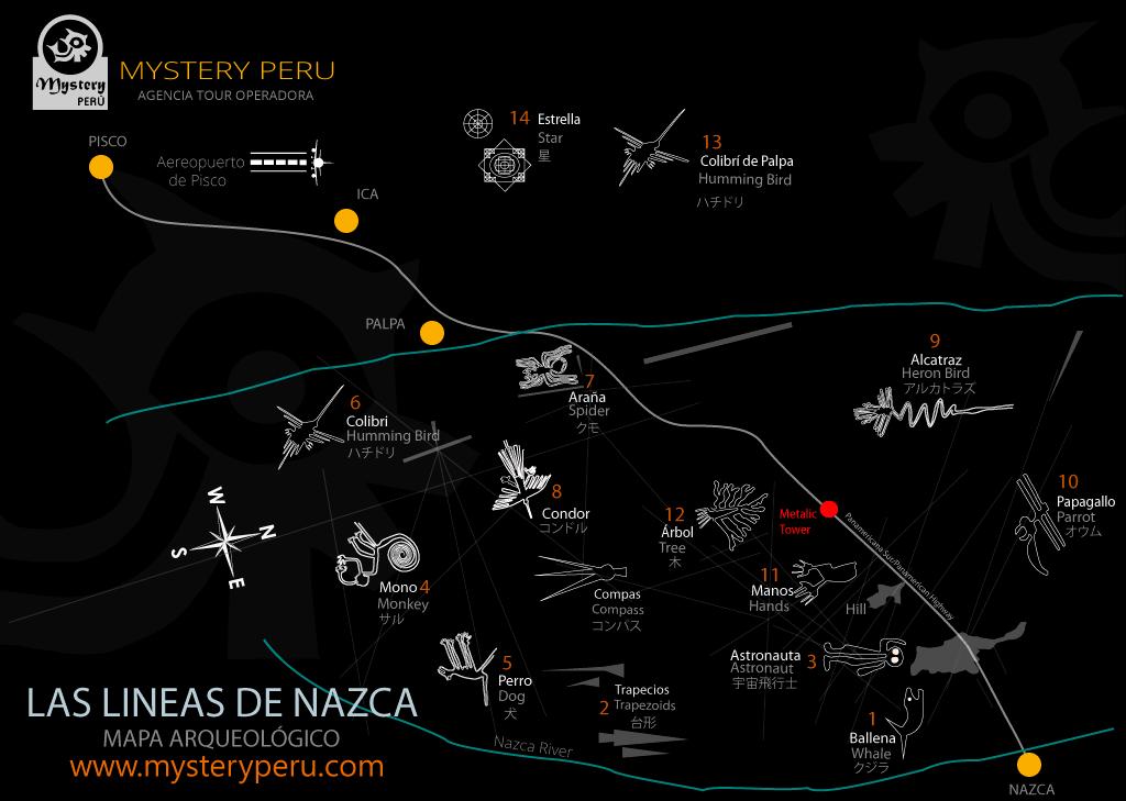 Mapa de las Lineas de Nazca desde el Aeropuerto de Pisco