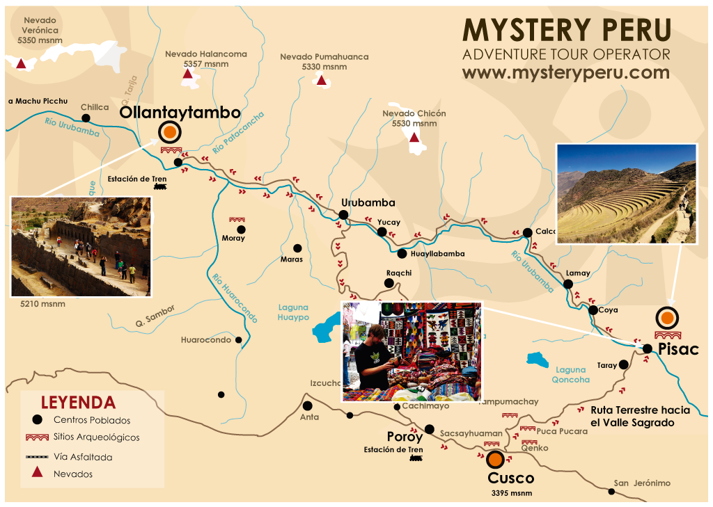 Mapa del tour al Valle Sagrado de los Incas