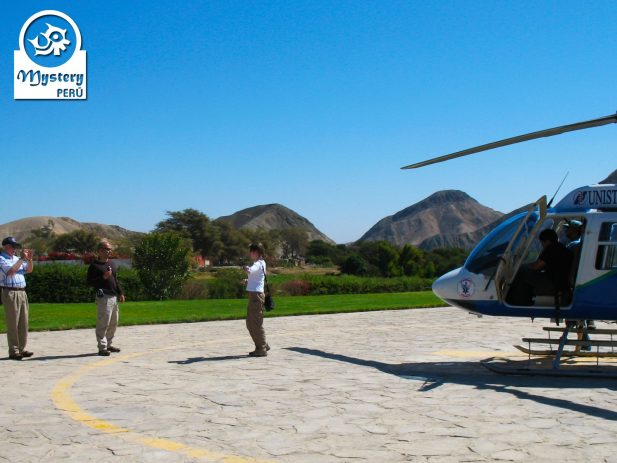 Flight over the Nazca Lines with a helicopter.