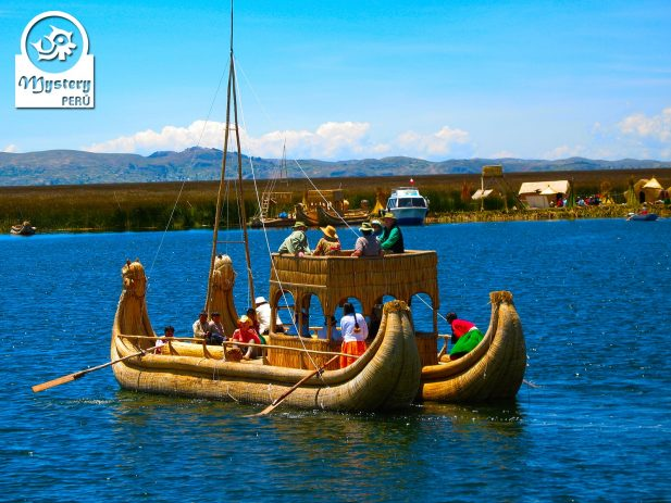 Touring with a reed boat on the Lake Titicaca