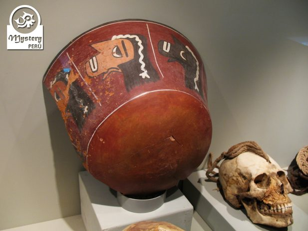 Ancient Nazca ceramics showing trophy heads - Cahuachi Peru.