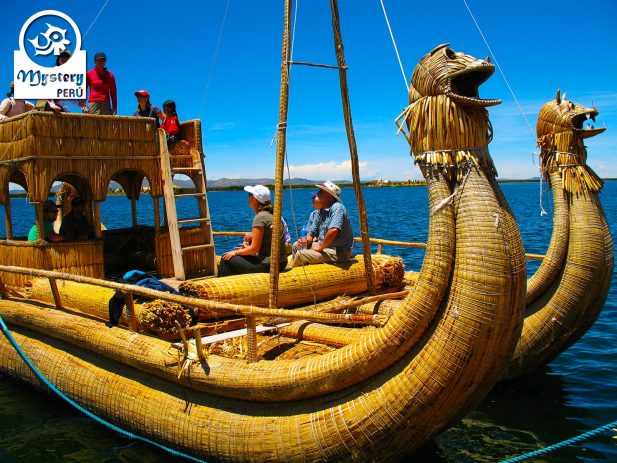 Reed boat at the Uros Floating Islands