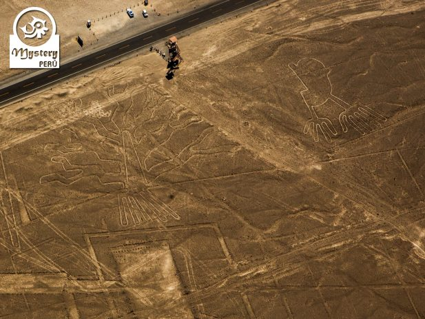 The Hands and the tree figure on the Nazca Desert.