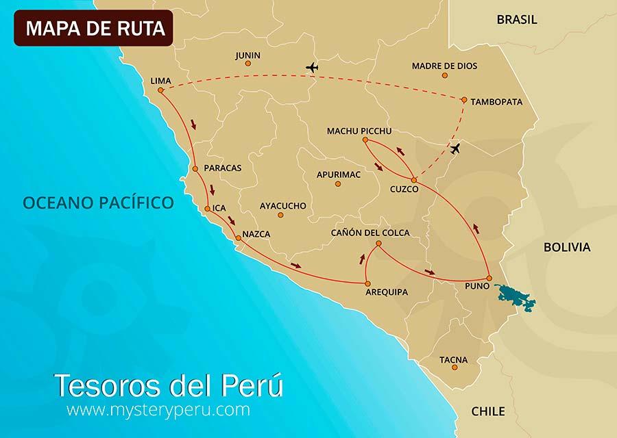 Mapa del Viaje Tesoros del Peru