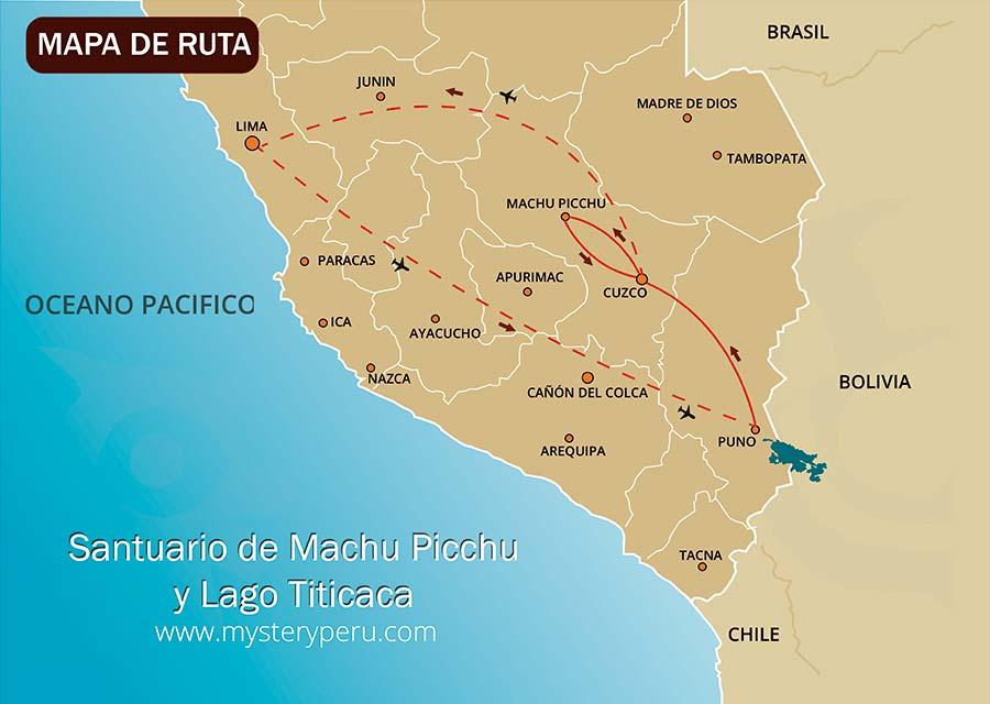 Mapa del Viaje Machu Picchu y Lago Titicaca