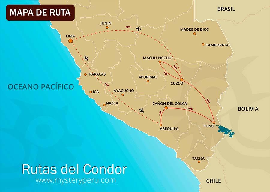 Mapa del Viaje Rutas del Condor