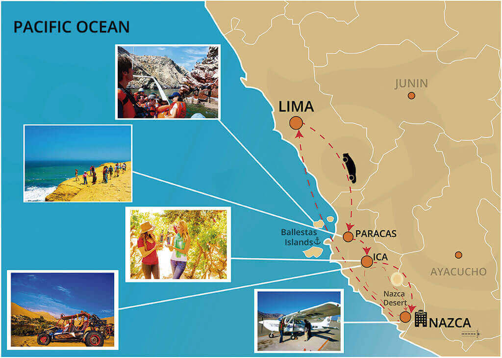 Map of our Paracas and Nazca Lines 2 Days Tour from Lima