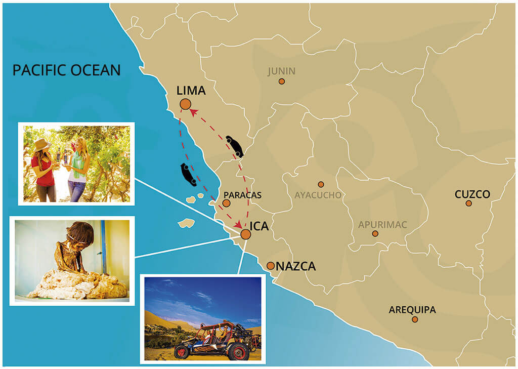 Map of the Full Day Tour to The Huacachina Oasis leaving from Lima