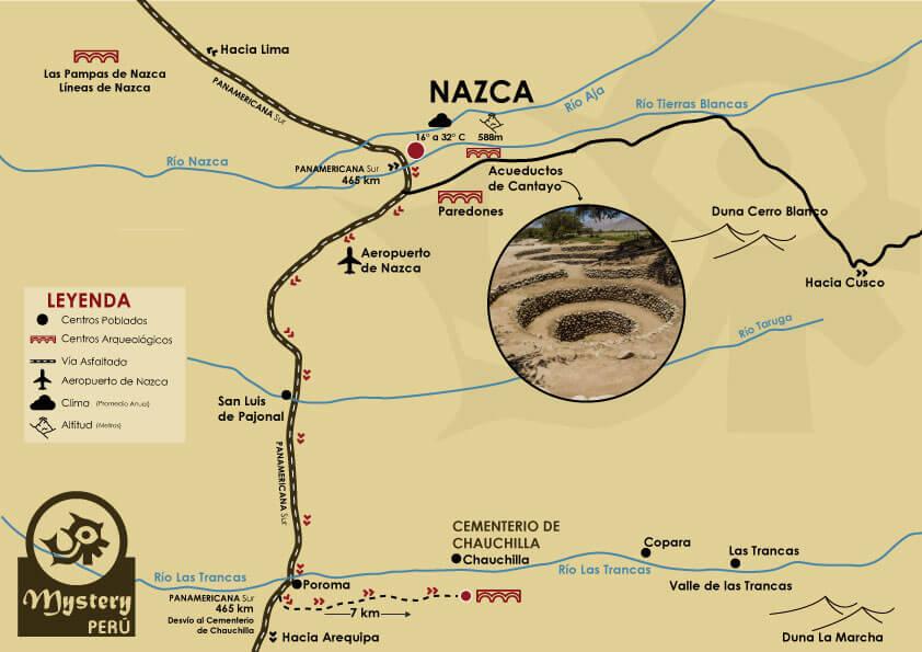 Mapa a los Acueductos de Cantayo
