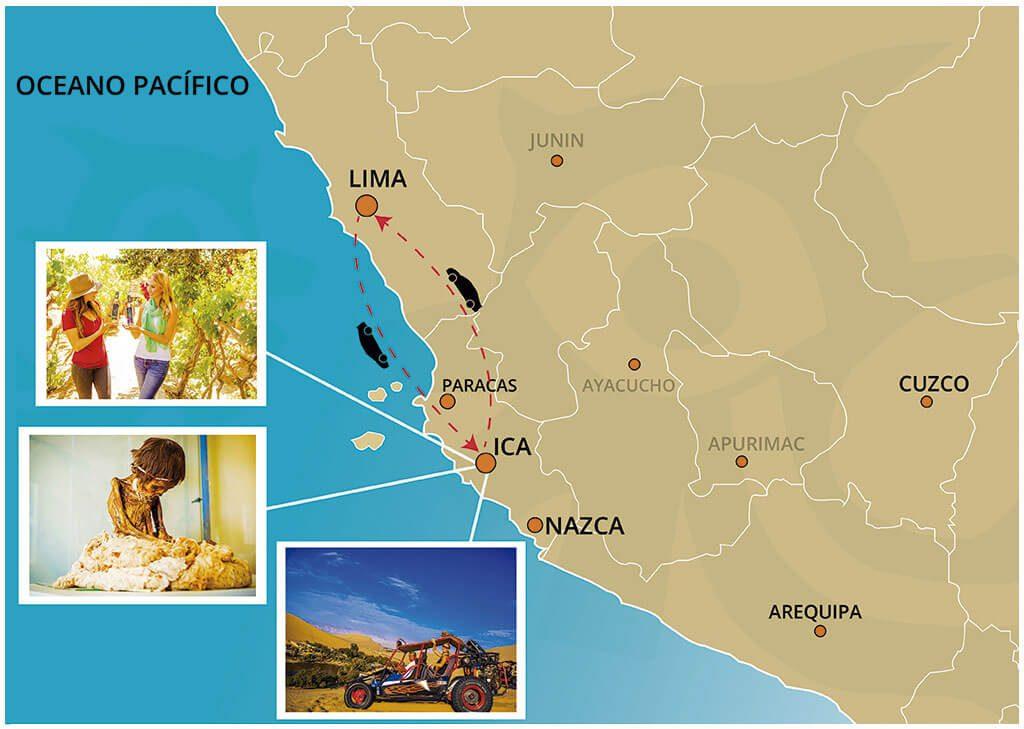 Mapa de la Excursión al Oasis Huacachina desde la Ciudad de Lima