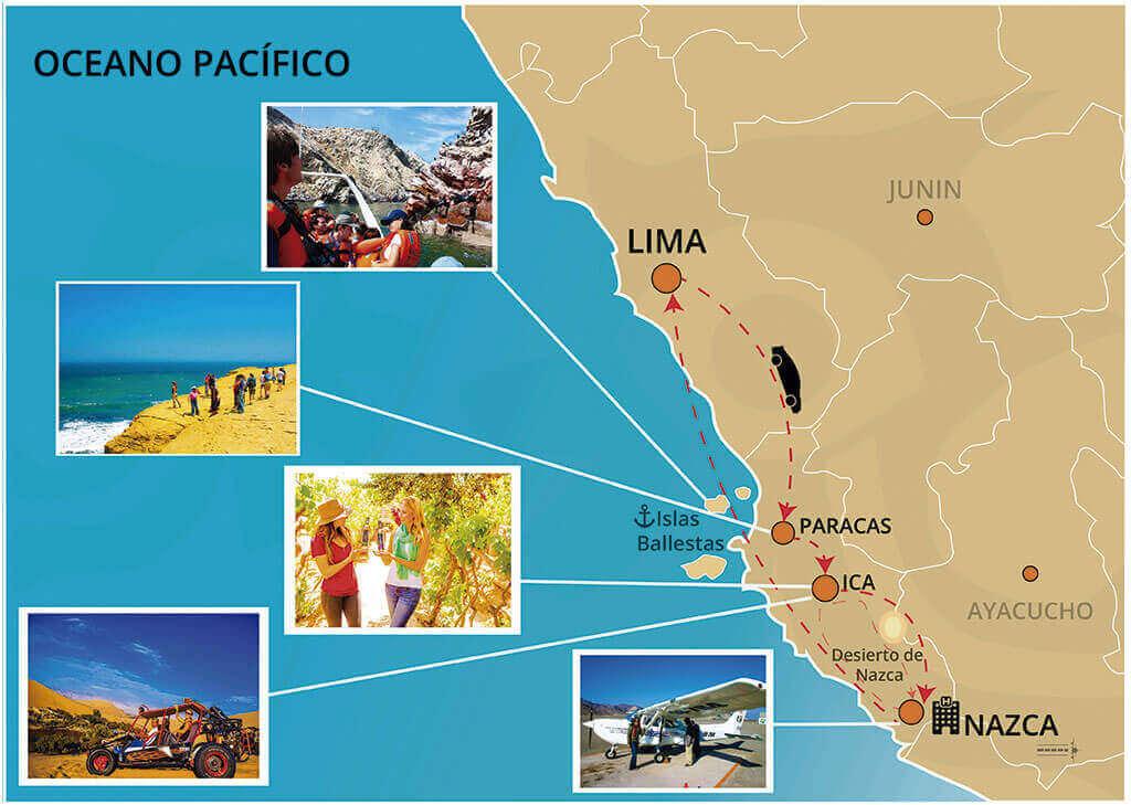 Mapa de nuestro tour a la Reserva de Paracas, Oasis Huacachina y Las Líneas de Nazca