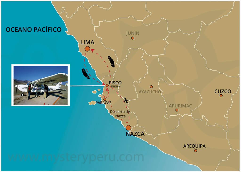 Mapa del Tour Aereo a las Lineas de Nazca saliendo del Aeropuerto de Pisco