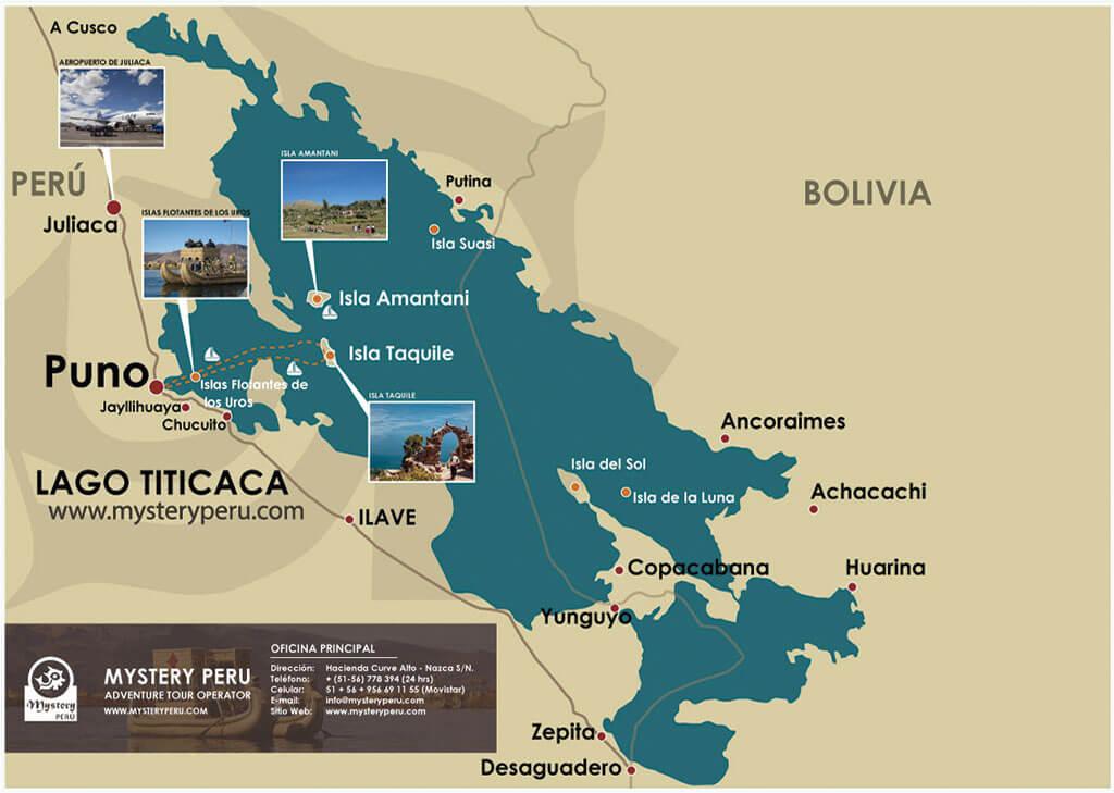 Mapa del Tour Vivencial en El Lago Titicaca