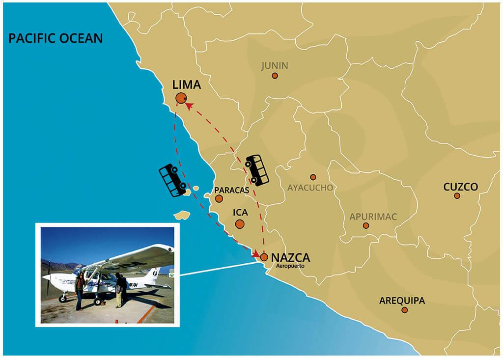 Mapa del Viaje Clasico a las Lineas de Nazca desde Lima