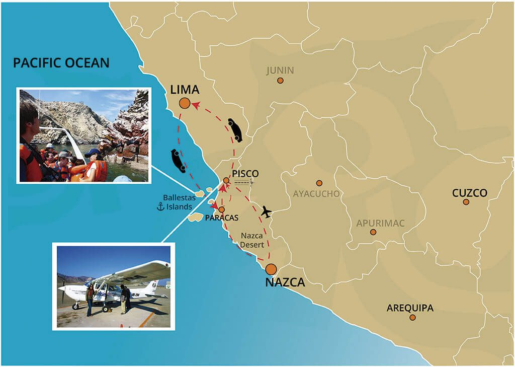 Map of Ballestas Islands and Nazca Lines Full Day Tour from Lima