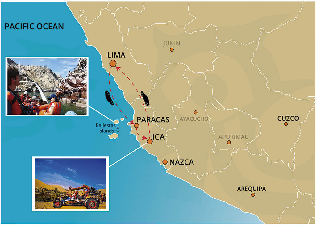 Map of Ballestas Islands and The Huacachina Oasis Full Day Trip from Lima
