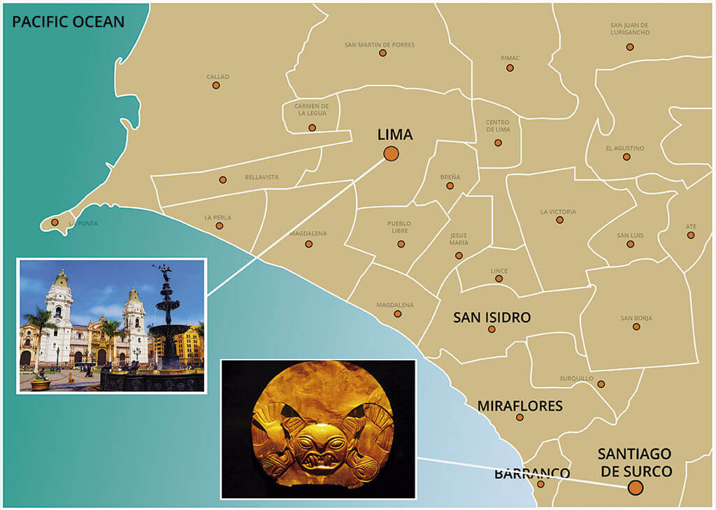 Map of the City Tour of Lima and Guided visit to the Gold Museum