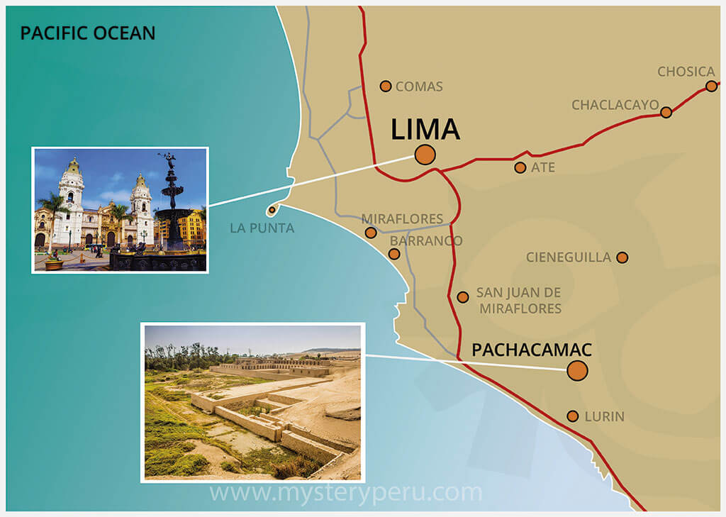 Map of the City tour of Lima & visit to The Ruins of Pachacamac
