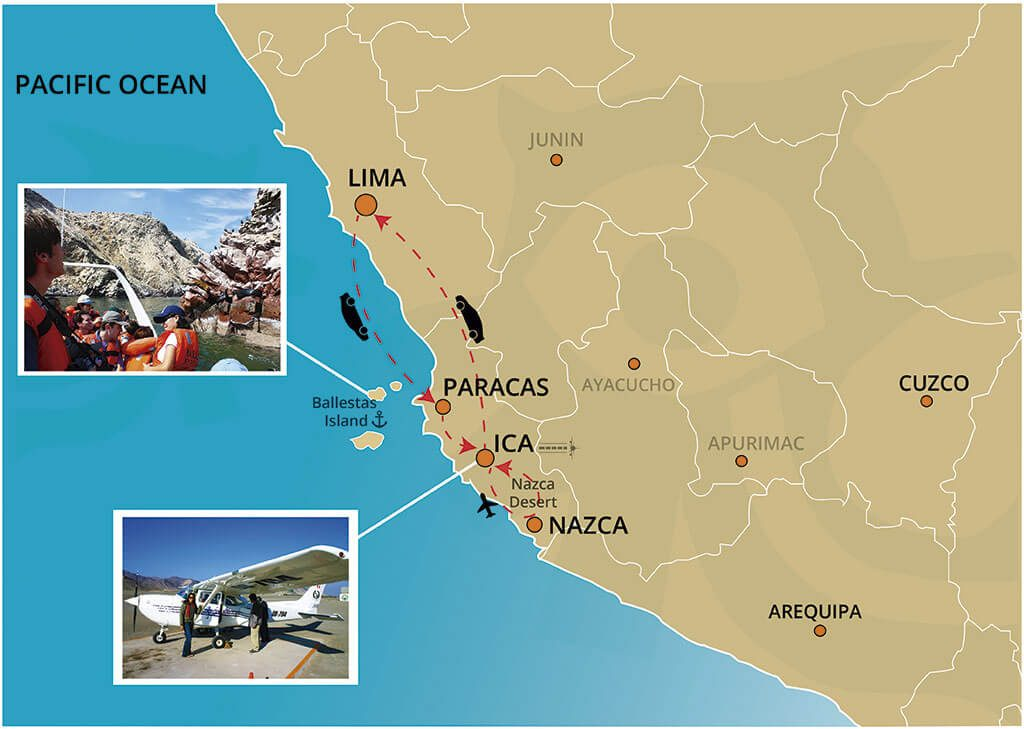 Map of the Full Day Tour to The Nazca Lines & Ballestas Islands Departing from Lima