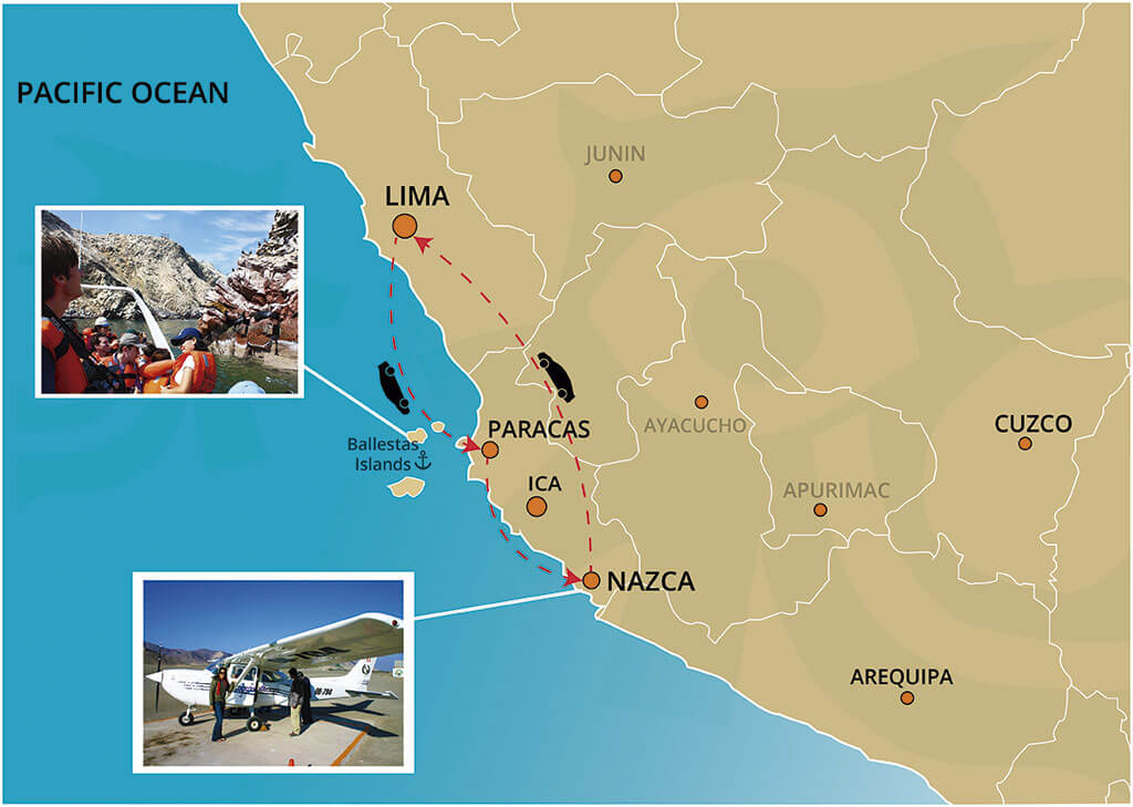 Map of the Full Day Tour to the Ballestas Islands and The Nazca Lines