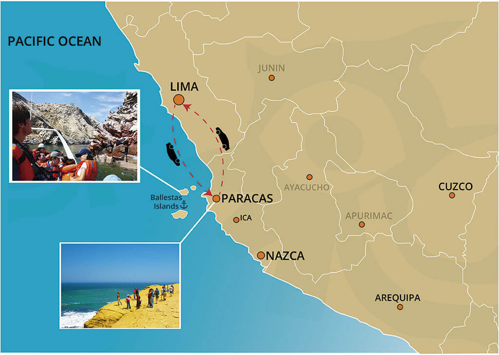 Map of the Full Day Tour to the Ballestas Islands and the Paracas Reserve