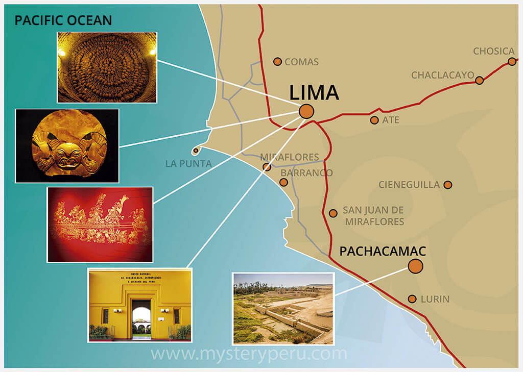 Map of the Guided City Tour of Lima and Museums
