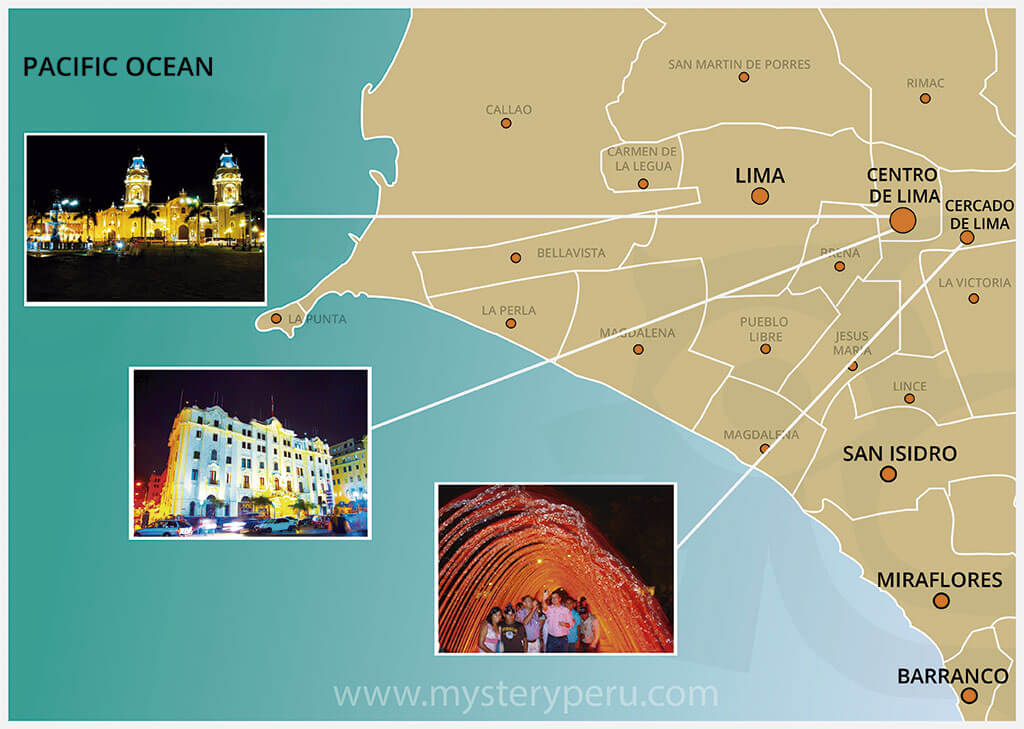 Map of the Guided Tour to Lima by night and The Magic Water Park