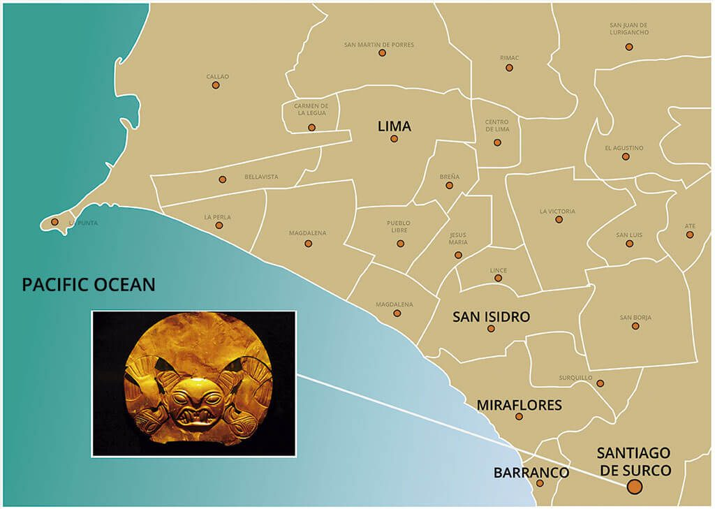 Map of the Guided Visit to the Gold Museum of Lima