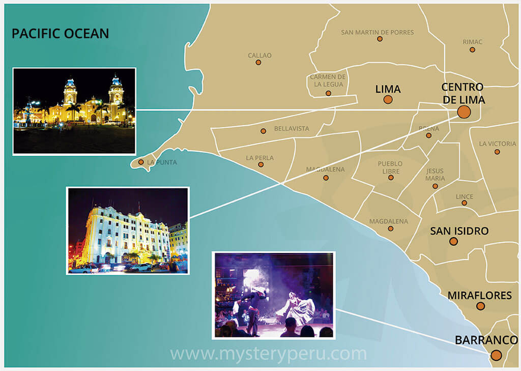 Map of the Guided tour to Lima by night and Dinner Sho