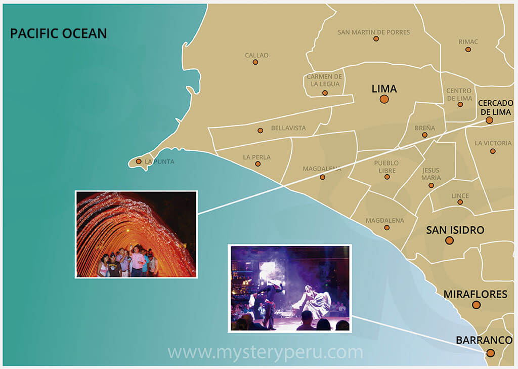 Map of the Tour to the Magic Water Park and Dinner Show in Lima