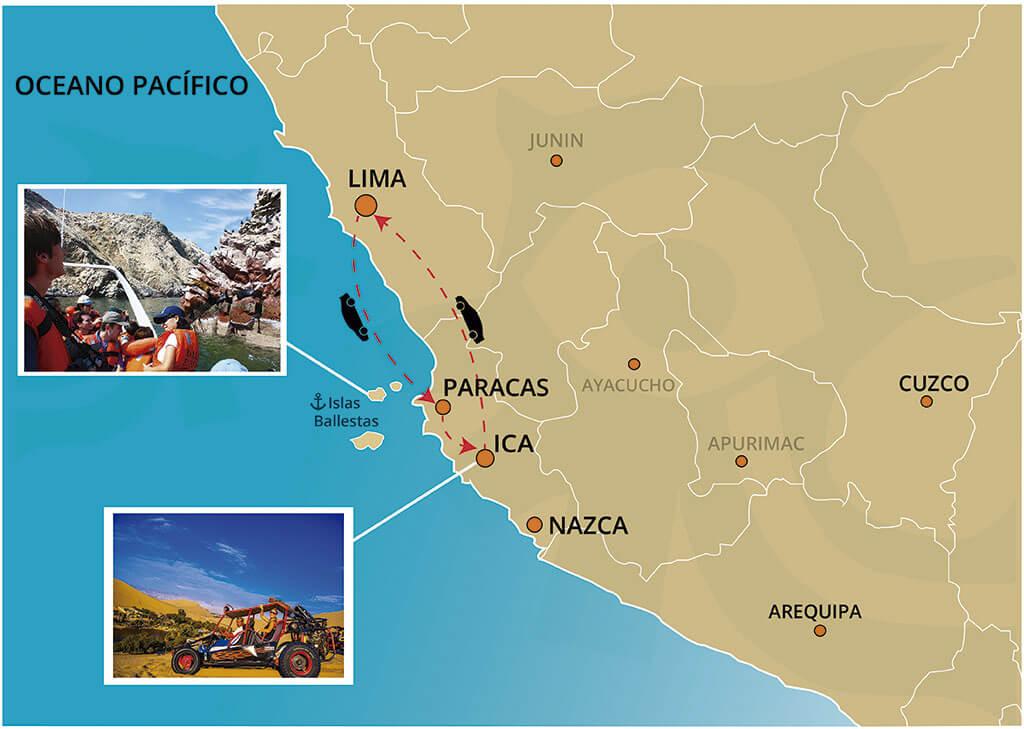 Mapa de las Islas Ballestas y Oasis Huacachina Tour de 1 Día