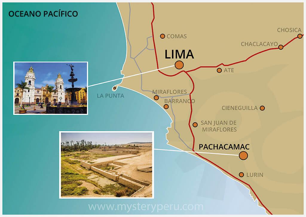 Mapa del City Tour de Lima y Las Ruinas de Pachacamac