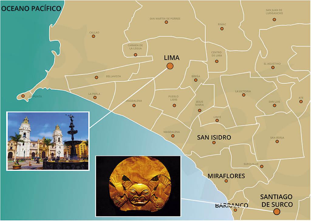 Mapa del City Tour de Lima y Museo de Oro