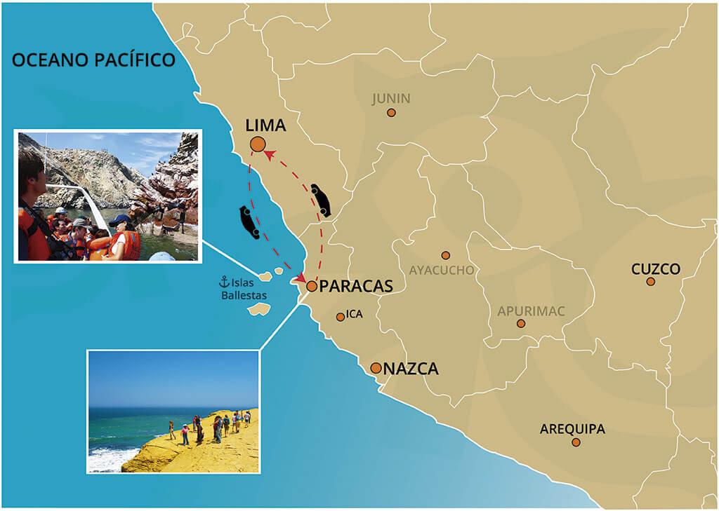 Mapa del Tour a Las Islas Ballestas y La Reserva de Paracas desde Lima