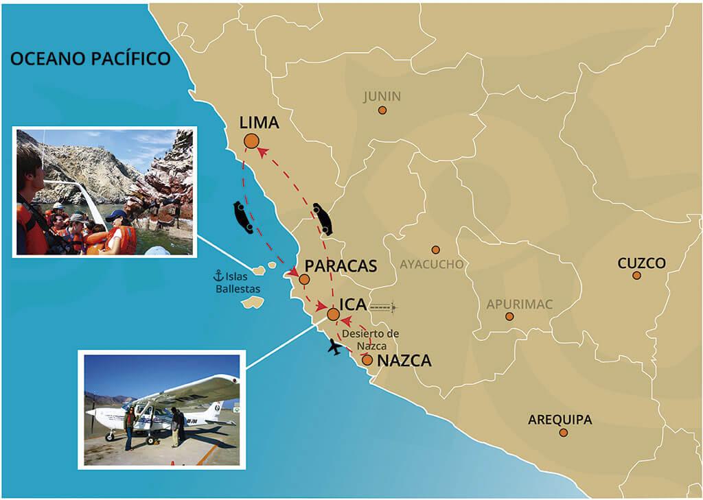 Mapa del Tour a las Islas Ballestas y Líneas de Nazca desde Lima