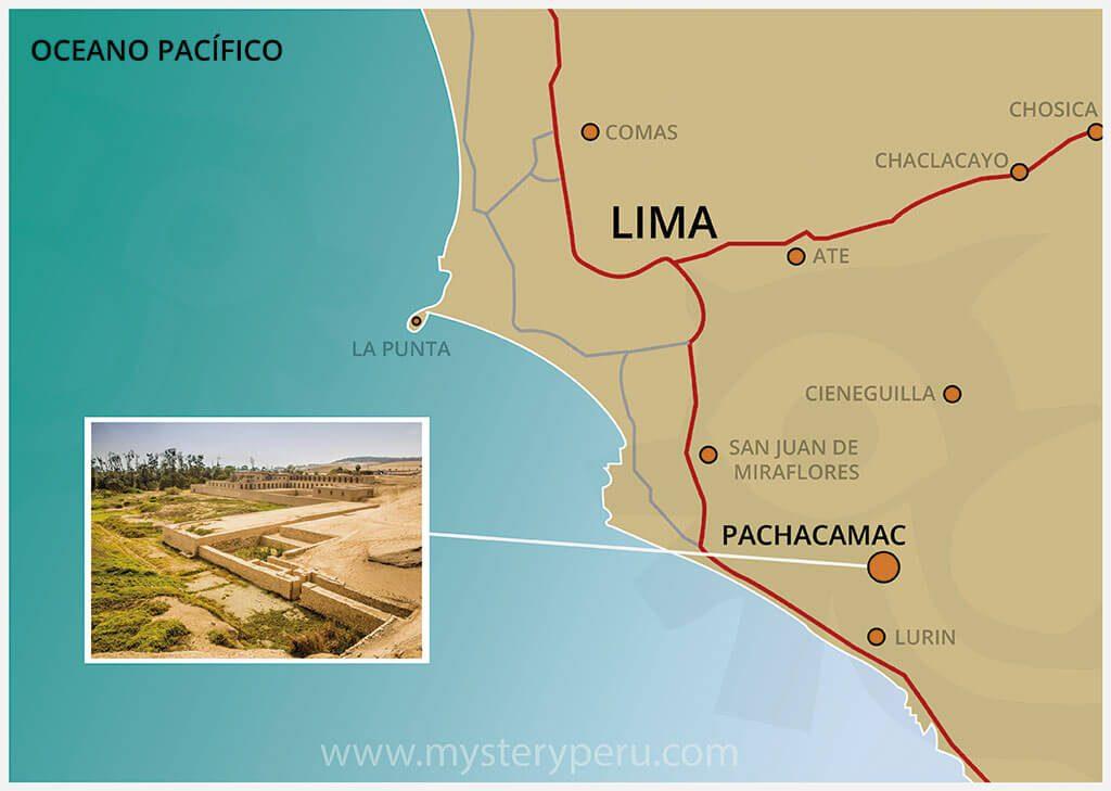 Mapa del Tour a las Ruinas de Pachacamac