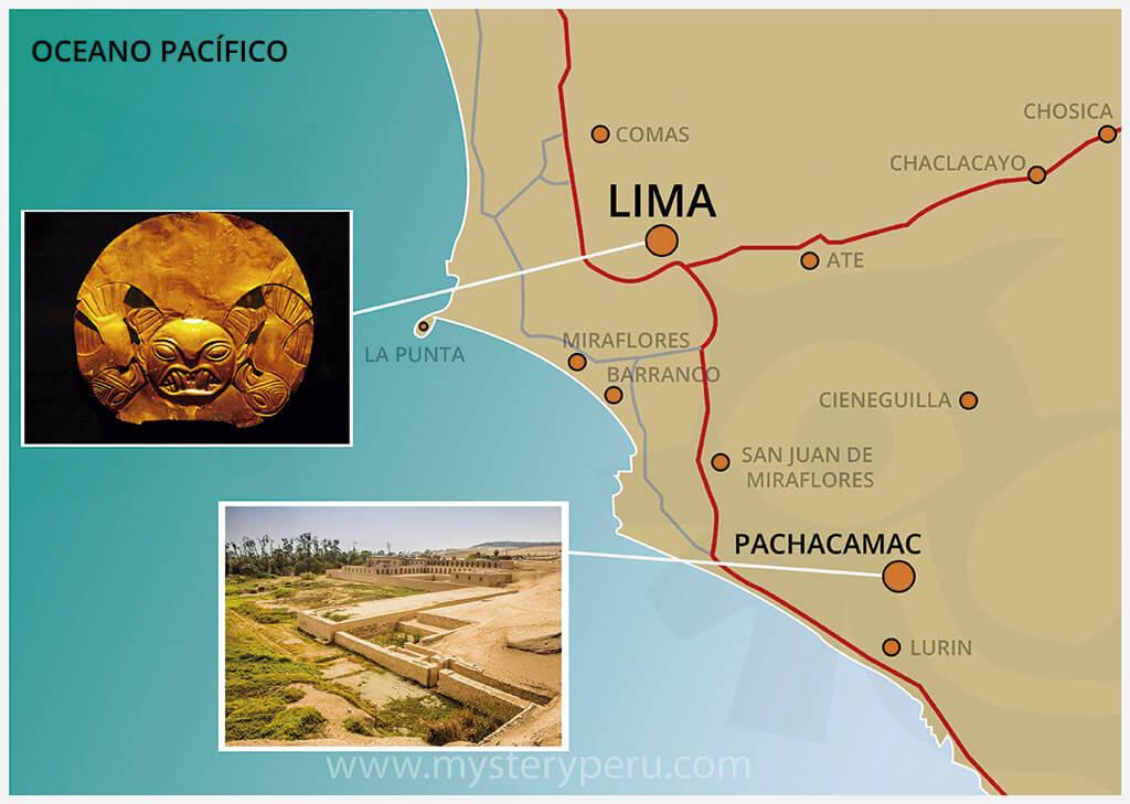 Mapa del Tour a las Ruinas de Pachacamac y Museo de Oro