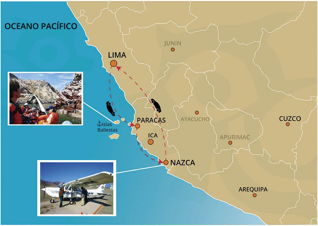 Mapa del Viaje Clásico a las Líneas de Nazca y Las Islas Ballestas desde Lima