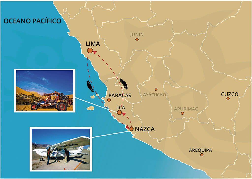 Mapa del Viaje al Oasis de Huacachina y Las Líneas de Nazca desde Lima