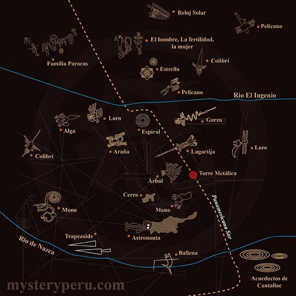 Mapa del Vuelo Especial a las Líneas de Nazca y Palpa