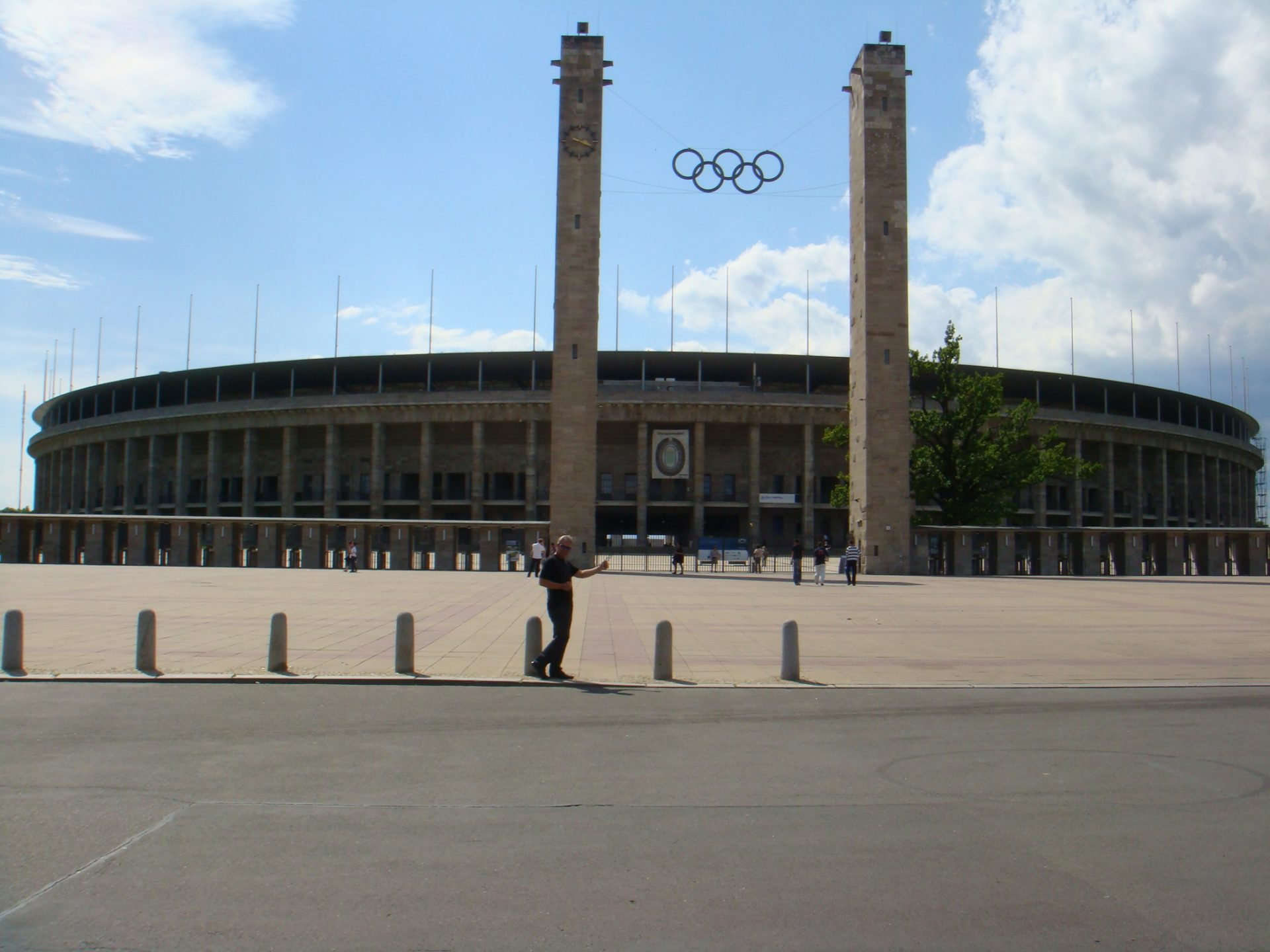 The 1936 Olympic Stadium, an example of Fascist architecture.  Jesse Owens ran here while Hitler watched