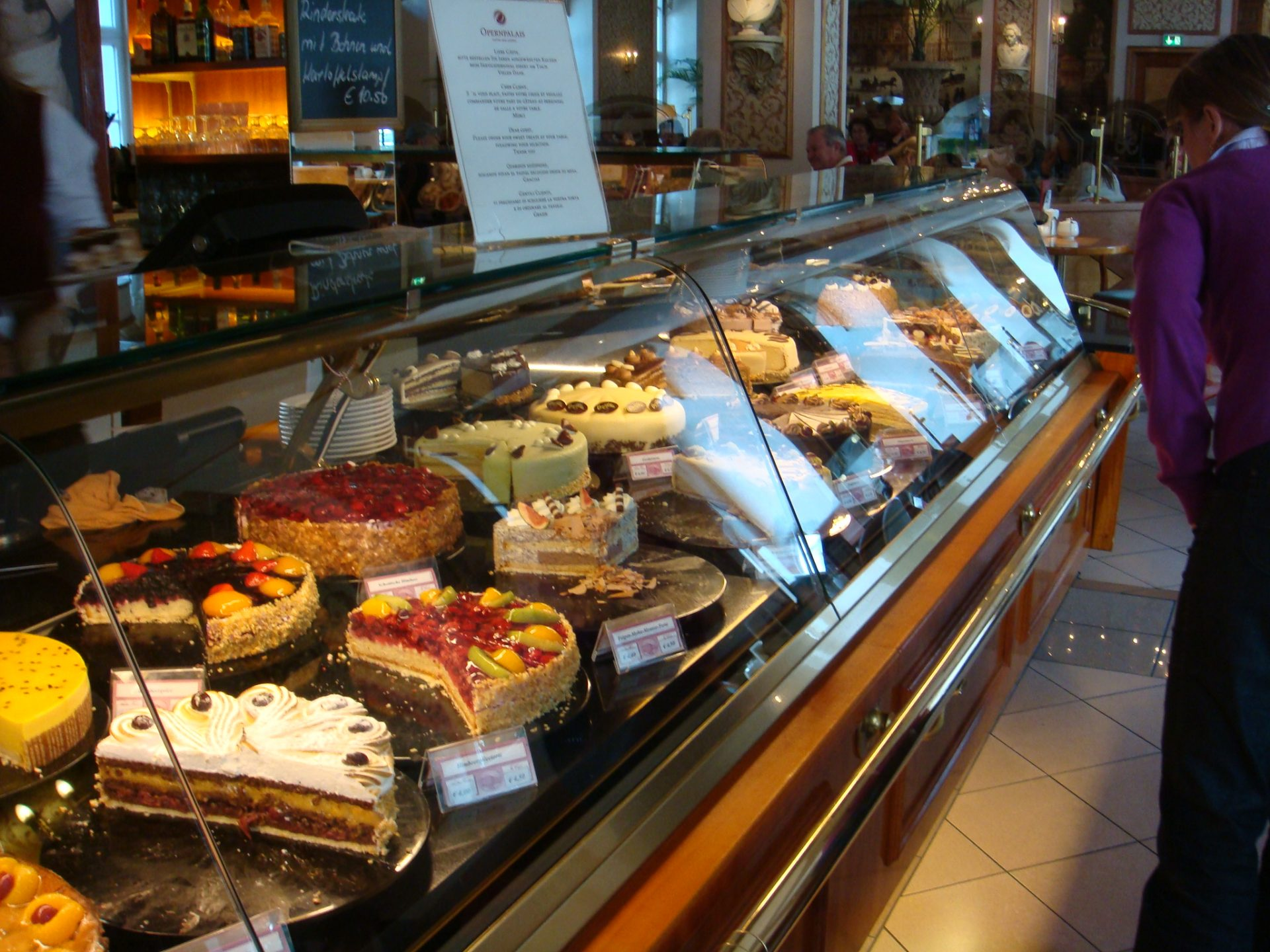 The famous cake selection at Opernhaus Cafe