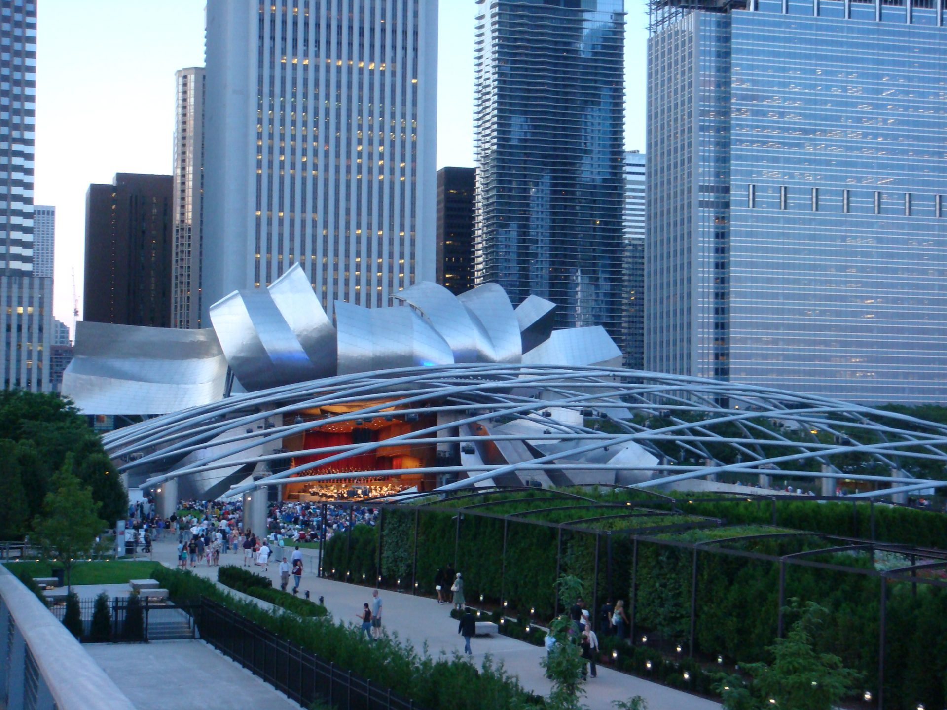 The Jay Pritzker Amphitheater; home to free outdoor cultural events all summer long