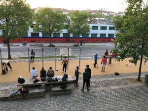 A well attended outdoor gym