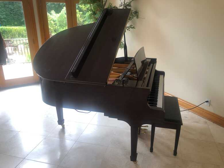 George Steck baby grand player piano