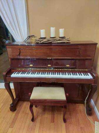 Petrof P115 Upright Piano brilliant Polished Mahogany Nice!